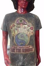 Men T Shirt short sleeve black mushroom ying yang hippie om Hobo boho M NO TIME