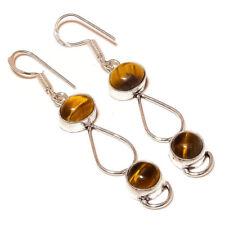 Brazilian Tigers Eye Gemstone silver plated Handmade Bezel Set Dangle Earrings
