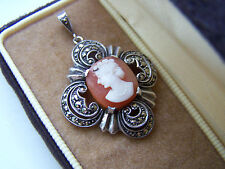 GORGEOUS VINTAGE LARGE STERLING SILVER CAMEO & MARCASITE PENDANT UNUSUAL & RARE