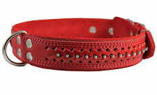 "Quality Real Leather Dog Collar Studs Braided 19""-24"" neck 1.6"" wide Mastiff"
