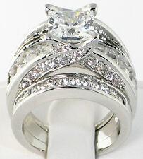BRIDGE 5.3 CT. PRINCESS CUT Cubic Zirconia Bridal Wedding 3 PC Ring Set - SIZE 8