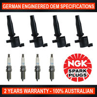 4x Genuine NGK Iridium Spark Plugs & 4x Ignition Coils for Mazda Premacy CR