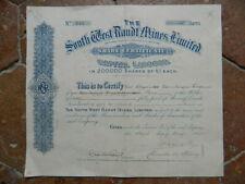 Action Obligation THE SOUTH WEST RANDT MINES Ltd 1895