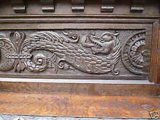 19C Victorian Gothic Fantasy English Carved Oak Dragon/Gargoyle/Griffin Bookcase
