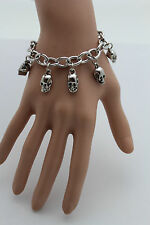 New Women Silver Bracelet Fashion Jewelry Metal Hand Dangle Skull Charm Skeleton