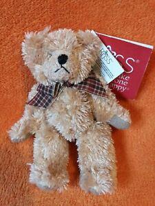 "Russ Berrie Mini Small Vintage Teddy Bear Soft Toy Tan Beige Felt Ribbon 5"" NWT"
