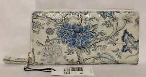 Brahmin Melbourne SKYLER Clutch Lg Wristlet Travel Zip Wallet BLUE JAY White NWT