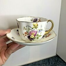 More details for pretty vintage antique doulton burslem fluted floral tea cup & saucer