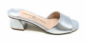 Chinese Laundry Womens My Girl Slide Heeled Sandal Open Toe Silver Size 5.5