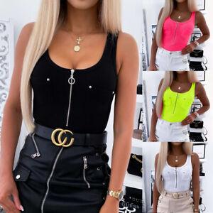 Womens Zipper Tank Tops Cami Vest Ladies Sleeveless Camisole Slim Blouse T-Shirt