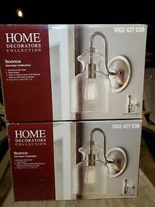 Home Decorators Brushed Nickel Wall Sconce with Clear Glass Shade LOT OF 2