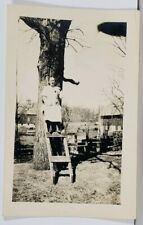 RPPC Lady on Ladder Posing With Dog 1920s Real Photo Postcard K15