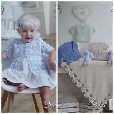 Baby CROCHET PATTERN Baby Matinee Coats Cardigans and Shawl 4ply King Cole 5002