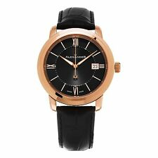 NEW Alexander A111-05 Heroic Macedon Swiss Sapphire Crystal Date Leather Men's