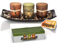 Natural Candlescape 3-Set Elegant Decorative Wooden Plate Holders Rocks & Tray