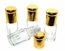 4 x Fillable Empty Glass 3ml Roll On Bottes for Oils and Perfumes