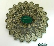 Fine Silver Filigree Green Agate Brooch Jerusalem 1940s