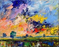 Sunset Landscape Oil Painting Impressionism Texture Modern Collectable
