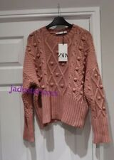 Chalk Pink Zara Diamond Knit Sweater S Small 8 Jumper New
