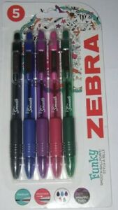 ZEBRA FUNKY SMOOTH BALLPOINT PENS 5 PACK SMOOTH Z-GRIP RETRACTABLE NEW SEALED