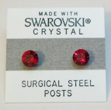 5mm Small Red Crystal CIRCLE Stud Earrings Made with SWAROVSKI ELEMENTS Gift