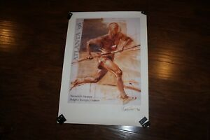 RARE! Signed Track & Field 1996 Olympics poster print art Polish Olympic Center