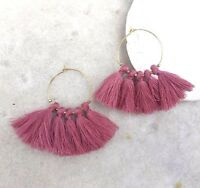 Boho Summer Earrings Dusty Rose Rosewood Tassel Fringe & Gold Plated Hoop urban