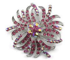 Luxurious Bridal Wedding Brooch Pin Pink Fine Austrian Rhinestone Crystal