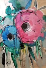 JOSE TRUJILLO Flowers Large 30X40 Drawing Painting ORIGINAL Abstract ART COA