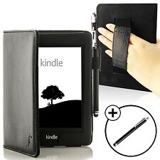 Leather Black Strap Smart Case Cover for Amazon Kindle Paperwhite 2015 + Stylus