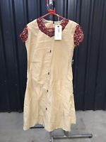 ex hire fancydress costumes - Beige Indian Dress With Red/gold Detail Size 12-14