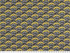 Jersey de coton, fleurs Rétro, ardoise-jaune mais, 150cm de large, prix au mètre