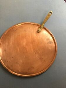 Antique large Polished Copper Flat Lid Iron Handle Pot Pan English Retro