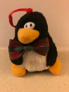 HANGING PENGUIN TEDDY WITH RED/GREEN BOW TIE