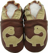 carozoo soft sole leather toddler shoes dinosaur brown 2-3y
