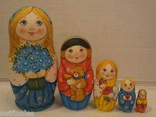 Russian Matryoshka - Wooden Nesting Dolls - 5 Pieces Unique Coloring - Set #9