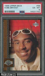 1996-97 Upper Deck #58 Kobe Bryant Los Angeles Lakers RC Rookie HOF PSA 6 EX-MT