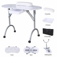 Brand NEW Foldable White Manicure Nail Table Portable Station Desk Beauty Salon