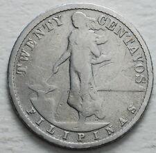 1907  USA Filipinas  Silver  20 centavos