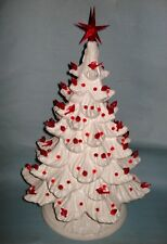 """Vintage Christmas 19"""" White Ceramic Mold CHRISTMAS TREE LIGHT 2-pc Decorated Red"""