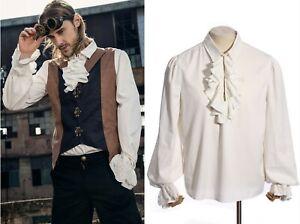 Lagerräumung RQ-BL Steampunk Gothic Herren Hemd Shirt viktorianisch weiß SPM004