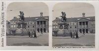 Postal-Rouen Plaza De Hotel Ayuntamiento 4160 Francia Foto Estéreo Plata c1930
