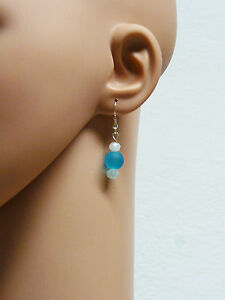 Glass Stone Jewellery Silver Earrings Pearls Turquoise Blue #C026