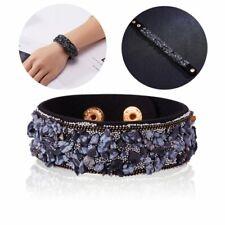 Boho Women Natural Stone Crystal Leather Wrap Beads Bracelets Bangle Jewelry Hot