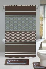 Olivia Brown & Blue 15-Piece Bathroom Accessory Set 2 Bath Mats Shower Curtain