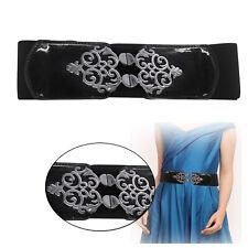 Mujer Elástico Cinturón Negro Con Hebilla de Metal 70mm Cinturilla Para Vestido