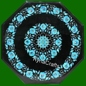 21 Inches Marble Center Table Turquoise Stone Inlaid Work Coffee Table Top