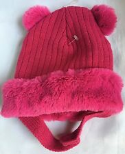 Toby Infant Girls Pom Pom Knit Hat With Faux Fur Cuff Fuchsia-New