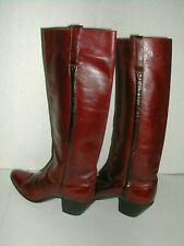 Rare Vintage LUCCHESE Tall Riding Cowboy Women's Boots Size 6-B Burgundy
