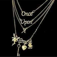 Women Fairy Key Love Heart Once Upon A Time Letters Charm Multilayers Necklace'